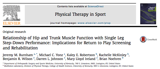 single leg step-down screening test return to play baton rouge anterior cruciate ligament acl reconstruction acl